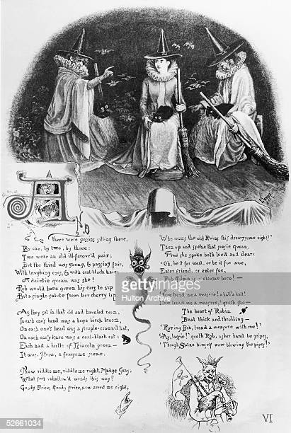 A page of verses from 'The Witches' Frolic' by English cleric and humorous writer Richard Harris Barham aka Thomas Ingoldsby published 1888 The...