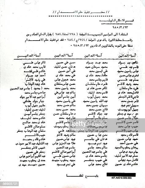 Page one of a twopage document confirming executions which was entered into evidence at the Saddam Hussein trial in Baghdad February 28 2006 The...