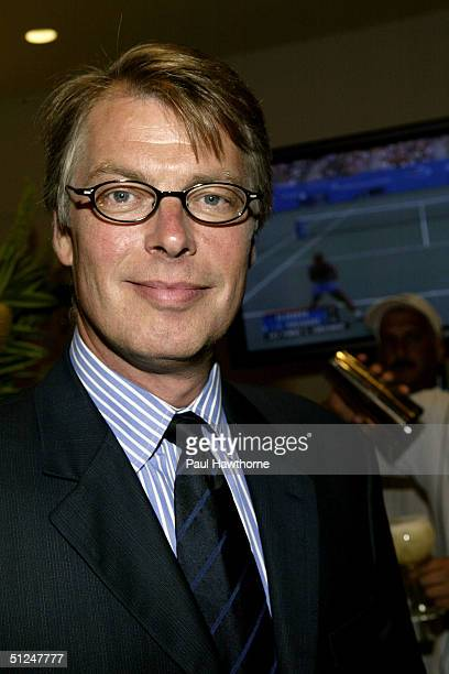 """Page Six columnist Richard Johnson attends the """"US Open"""" opening night party at Aces Restaurant in Arthur Ashe Stadium August 30, 2004 in New York..."""