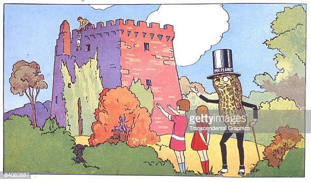 A page taken from a Planters' Peanut Coloring Book showing the company's advertising mascot Mr Peanuts visiting a castle in Ireland ca1930s