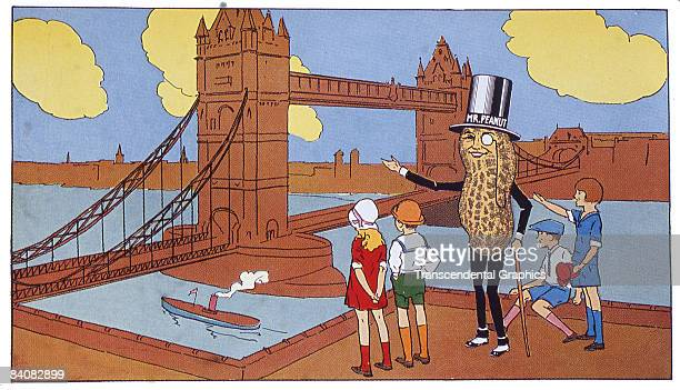A page taken from a Planters' Peanut Coloring Book showing the company's advertising mascot Mr Peanuts visiting London Bridge ca1930s Mr Peanut shows...