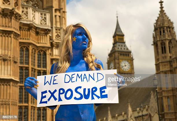 Page three girl Amy Diamond poses painted in the colours of the European flag to demand on behalf of Libertas that MEPs bare all and reveal their...