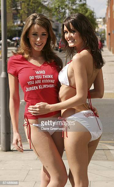 Page Three models Nikkala Stott and Nicola Tappenden promote the video to accompany an England World Cup song Who Do You Think You Are Kidding Jurgen...