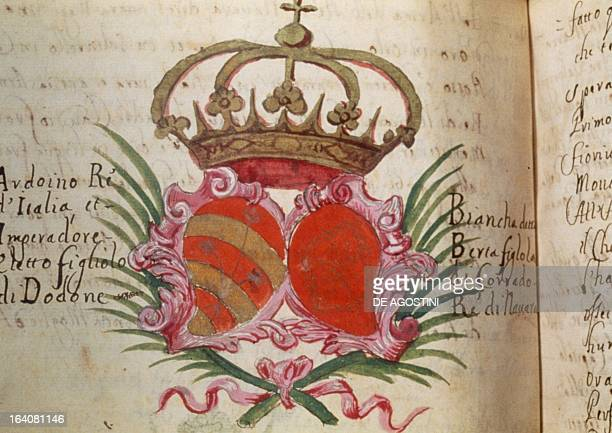 Page with the coat of arms of Arduino King of Italy and his wife manuscript Italy 11th century