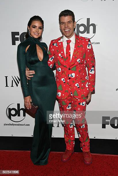 Pageant judges Miss Universe 2012 Olivia Culpo and blogger Perez Hilton attend the 2015 Miss Universe Pageant at Planet Hollywood Resort & Casino on...