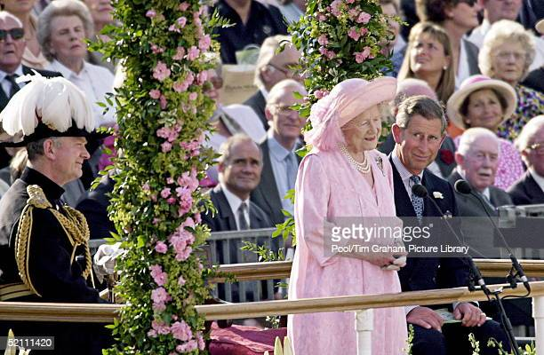 Pageant To Celebrate The 100th Birthday Of The Queen Mother Horseguards London Queen Mother Watched By Prince Charles As She Makes Her Speech Of...
