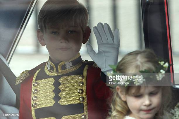 Pageboy Master Tom Pettifer waves as he arrives to attend the Royal Wedding of Prince William to Catherine Middleton at Westminster Abbey on April...