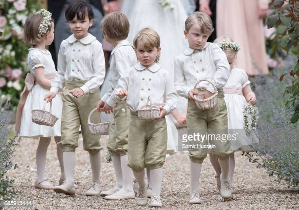 Pageboy Prince George of Cambridge attends the wedding Of Pippa Middleton and James Matthews at St Mark's Church on May 20, 2017 in Englefield Green,...