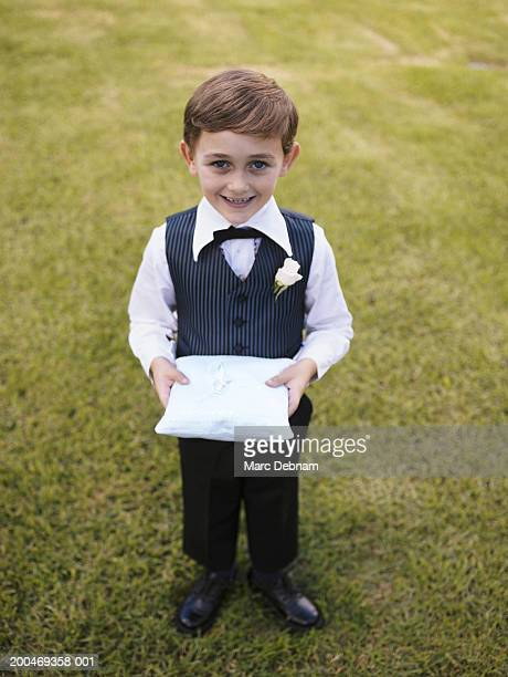 """pageboy (6-7) smiling, portrait"" - ring bearer stock pictures, royalty-free photos & images"