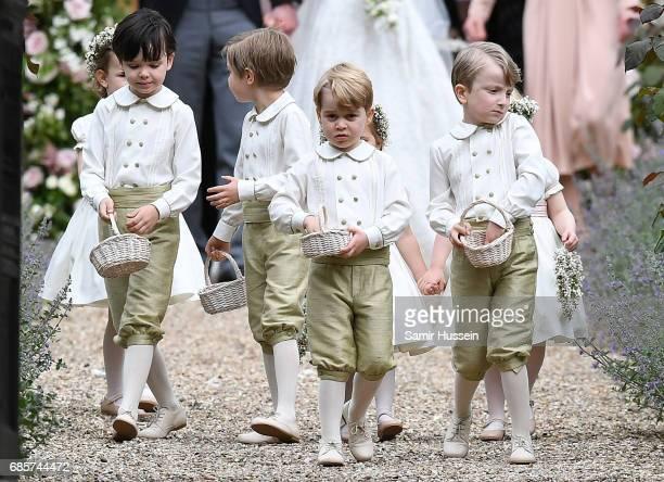 Pageboys Casimir Tatos, Edward Sebire, William Ward and HRH Prince George of Cambridge the wedding of Pippa Middleton and James Matthews at St Mark's...