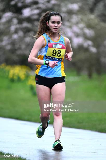 Pagen Spooner competes in the womens 20km walking race during the Muller British Athletics Marathon and 20km Walk Trials at Kew Gardens on March 26,...