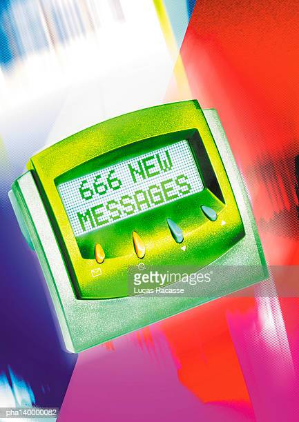Pager, 666 New Messages text on screen, digital composite.