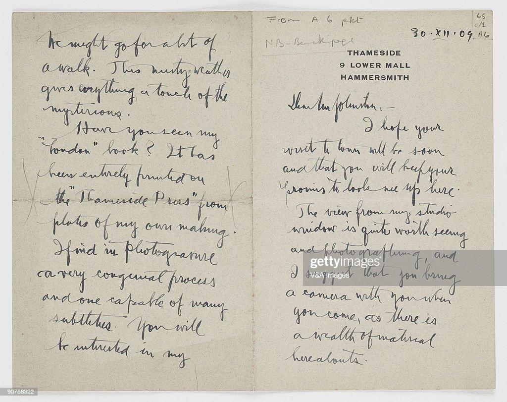 Letter from Alvin Langdon Coburn to J Dudley Johnston, 1909. : News Photo