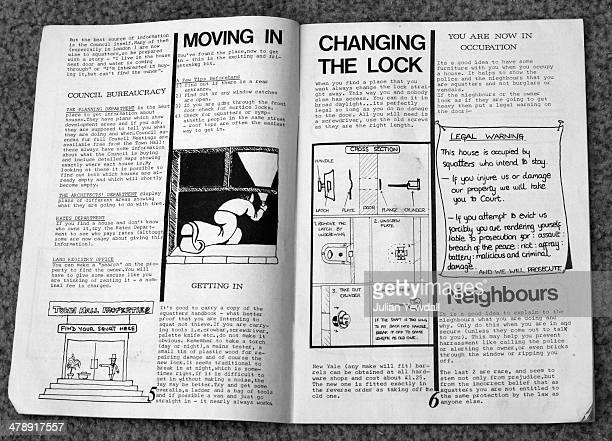 Pages from a handbook giving practical and legal advice on squatting London 1975