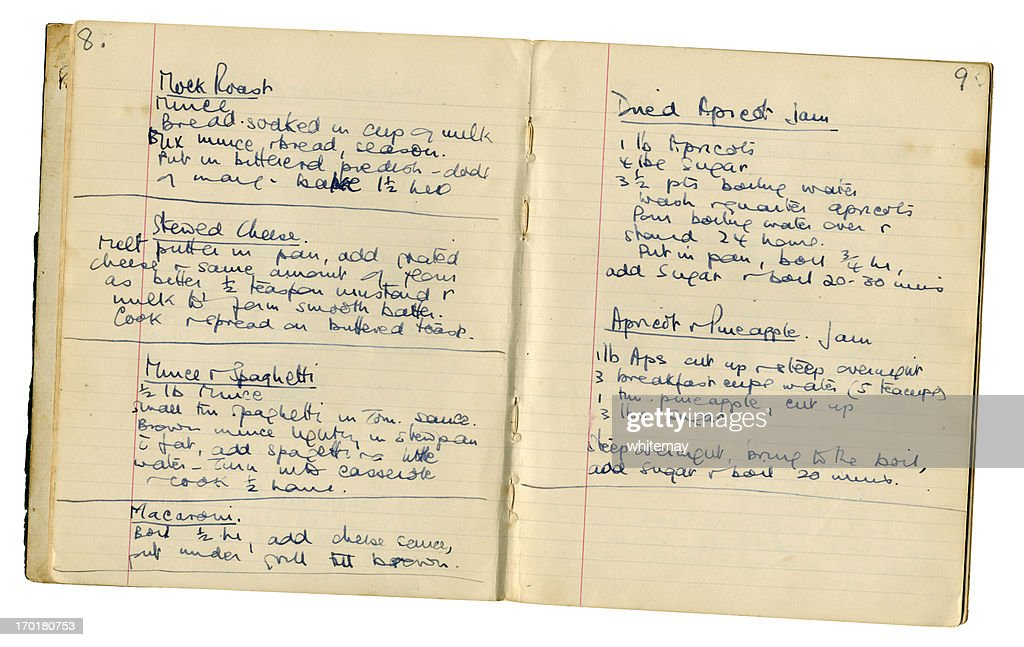 Pages from a handwritten recipe book : Stock Photo