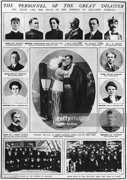 Pages from the Graphic magazine showing the personnel of the Canadian Pacific ocean liner RMS Empress of Ireland 1914 She had sunk in the Saint...