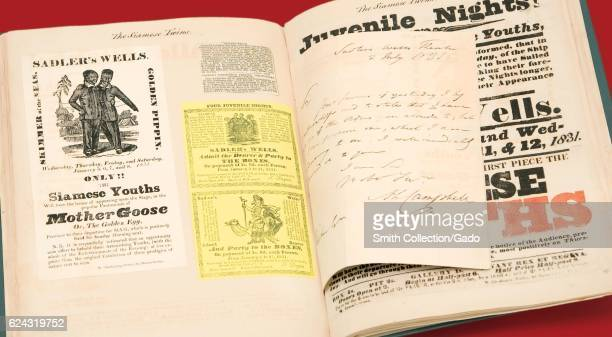 Pages from the J Willinham scrapbook on the Chang and Eng Bunker Siamese twins 1850 Courtesy National Library of Medicine