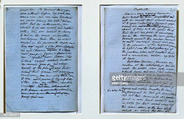 Pages from the original manuscript of Frankenstein by Mary Shelley is dispayed for the Bodleian Libraries University of Oxford latest literary...