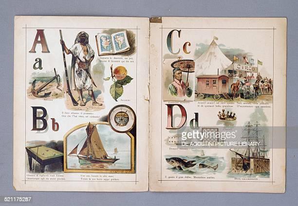 Pages of ABC in viaggio, illustrated children's primer, published by Vallardi. Italy, 20th century. Milan, Museo Del Giocattolo E Del Bambino Italy