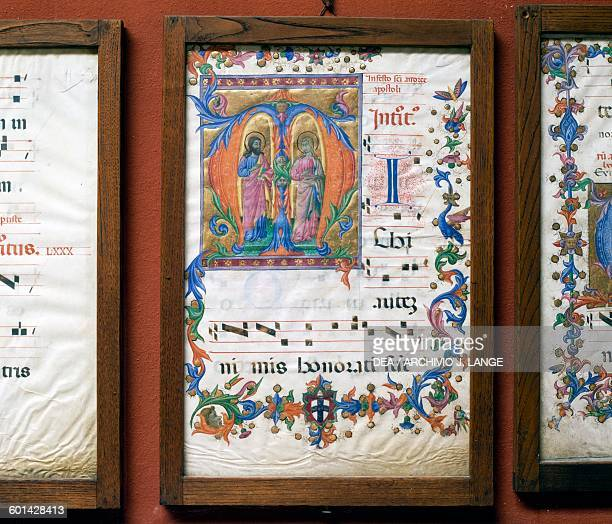 Pages of an illuminated manuscript Pienza Tuscany Italy Pienza Museo Diocesano