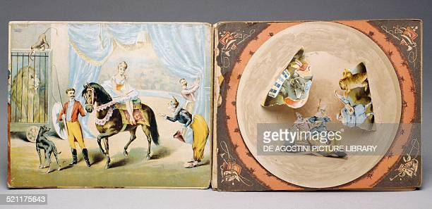 Pages of Le sorprese del circo children's accordion book about a metre long and with a series of rotating circles and threedimensional effects Italy...