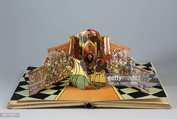Pages of Mickey Mouse at King Arthur's court children's book with threedimensional effects Mondadori Italy 20th century Milan Museo Del Giocattolo E...