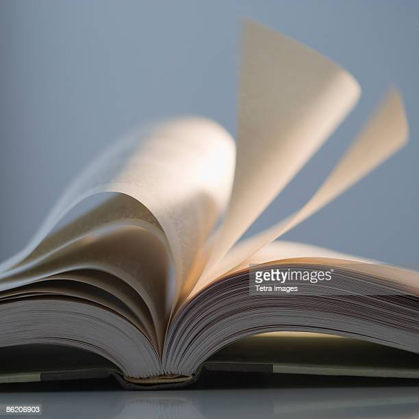 Pages of open book splaying