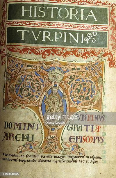 Pages of the Codex Calixtinus or Liber Sancti Iacobi an illuminated manuscript which dates from 12th century period of Pope Calixtus II on April 4...