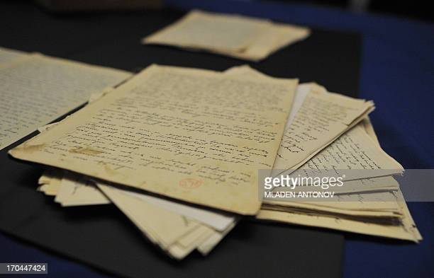 Pages with Alfred Rosenberg hand writing are seen during a press conference after the announcement of the seizure of the longlost 'Rosenberg Diary'...