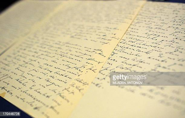 Pages with Alfred Rosenberg's hand writing are seen during a press conference after the announcement of the seizure of the longlost 'Rosenberg Diary'...