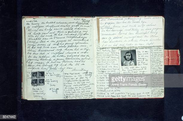Pages with text and photos from Anne Frank's diary written in October 1942