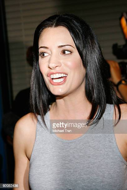 Paget Brewster attends the 100th episode cakecutting ceremony of the television show 'Criminal Minds' held at Quixote Studios on October 19 2009 in...
