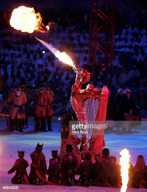 Pagini's dragon harp blows a flame of fire during the Closing Ceremony of the Turin 2006 Winter Olympic Games on February 26 2006 at the Olympic...