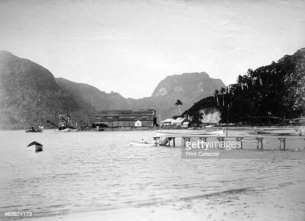 Pago Pago Harbor in the island of Tutuila American Samoa 1889 Coal hanger in the distance and Pioa Mountain