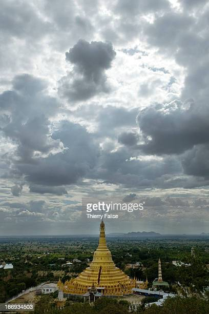 A pagoda and the valley of Chindwin River seen from the Po Kaung Hills