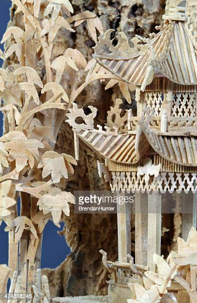 pagoda in the cork woods - intricacy stock pictures, royalty-free photos & images