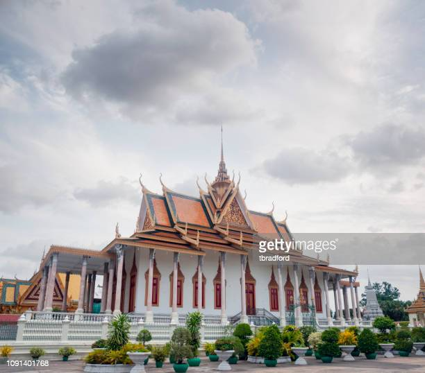 pagoda inside the grounds of the royal palace in phnom penh, cambodia - cambodia stock pictures, royalty-free photos & images
