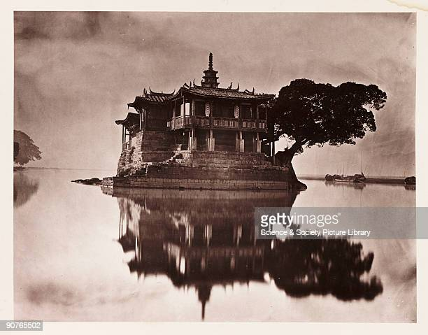 Pagoda on an island in the River Min near Fuzhou China taken by John Thomson in about 1871 published in 1873 in the book 'Foochow and the River Min'...