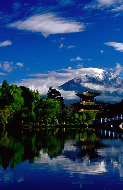 Pagoda reflected in Black Dragon Pool in front of Jade Dragon Snow Mountain (Mt Satseto).
