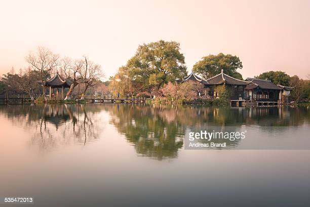 Pagoda reflections at West Lake scene Three Pools Mirroring the Moon
