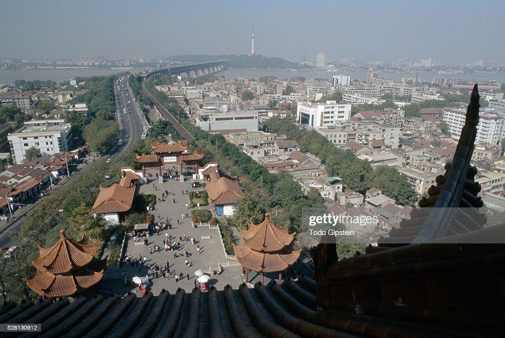 Pagoda Rooftops and Plaza : Stock Photo