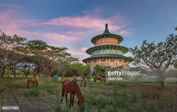 pagoda tian ti - kenjeran park - surabaya - east java - surabaya stock pictures, royalty-free photos & images