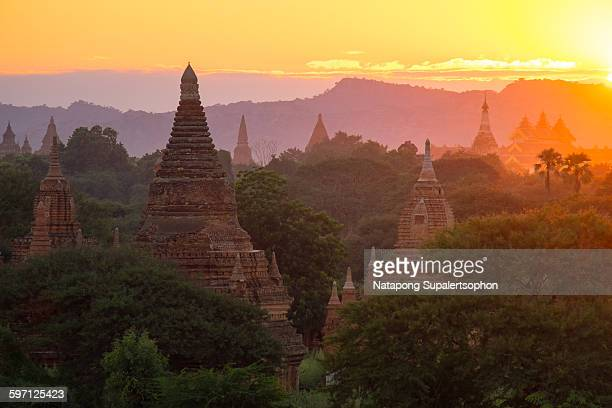 Pagodas and sunset in bagan