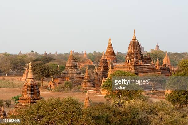 Pagodas at sunrise in Bagan, Myanmar