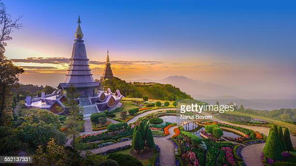 pagodas of doi inthanon national park : thailand - chiang mai province stock photos and pictures