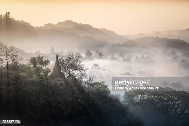 Pagodas on a hill at Mrauk U