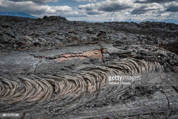 pahoehoe lava flow on tolbachik volcano - volcanic terrain stock pictures, royalty-free photos & images