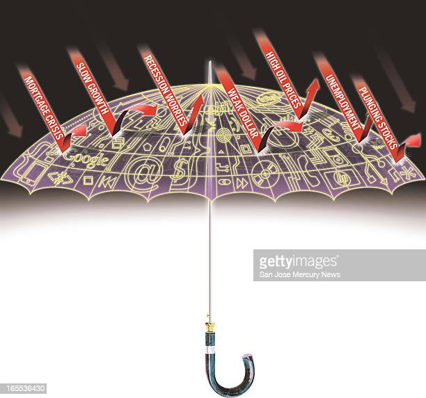 Pai color illustration of umbrella with cover of electronic data deflecting downward arrows of recession worries plunging stocks slow growth etc