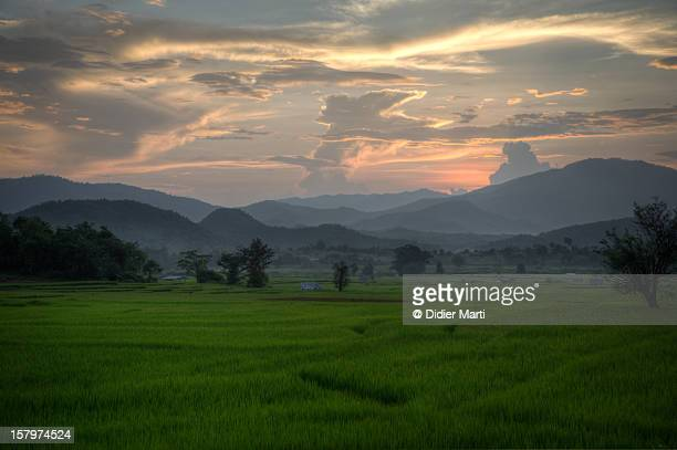 pai countryside at sunset - didier marti stock photos and pictures