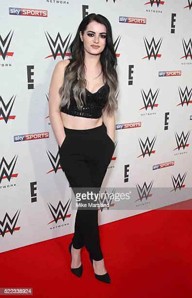 Paige aka Saraya-Jade Bevis arrives for WWE RAW at 02 Brooklyn Bowl on April 18, 2016 in London, England.